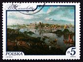 Postage Stamp Poland 1984 View Of Warsaw, Painting