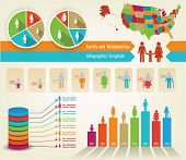 stock photo of population  - Infographics of family tree and statistics - JPG