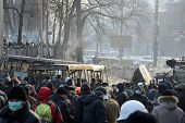 KIEV, UKRAINE - JANUARY 20, 2014: Anti-government protest in Kiev,  Grushevsky str.  Mass meeting fo