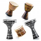 stock photo of drum-set  - African drums on a white background - JPG