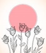 pic of perfume  - Vector card with hand drawn tulips on pink circle - JPG