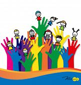 stock photo of finger-painting  - Cute happy cartoon kids on fingers - JPG