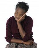 stock photo of tween  - An attractive tween girl looking tired and bored in her school uniform - JPG