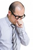 stock photo of cough  - Businessman with cough - JPG