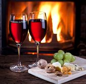 picture of brie cheese  - Romantic still life near the fireplace - JPG