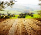image of farm landscape  - wood textured backgrounds on the tuscany landscape  - JPG