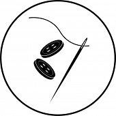 image of dress-making  - needle thread and sewing buttons symbol - JPG