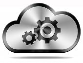 Постер, плакат: cloud computing technology maintenance and provider hosting software service icon or button performa