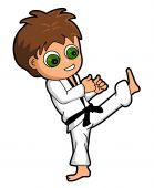 image of karate kid  - Kid karatist isolated on a white background - JPG