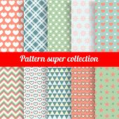 Collection of Chic Vector Seamless patterns. Heart, flower and dot shape. For different Background.