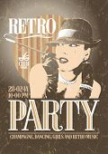 foto of smoking woman  - Retro party poster with old - JPG