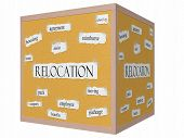 Relocation 3D Cube Corkboard Word Concept