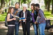 stock photo of professor  - Group of senior students asking professor a question outdoors - JPG