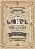 foto of placard  - Illustration of a vintage invitation background to a grand opening exhibition with floral patterns frames banners grunge texture and lots of retro design elements - JPG