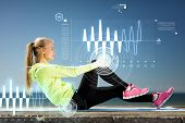 stock photo of cardio exercise  - sport and lifestyle concept  - JPG