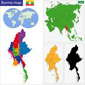 Map of Union of Myanmar (Burma) with the provinces colored in bright colors