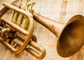 image of trumpet  - Old damaged brass trumpet photographed on papyrus - JPG