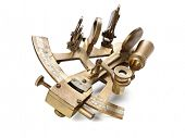 stock photo of longitude  - old bronze sextant on the white background - JPG