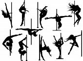 stock photo of pole dancer  - Vector set of 11 pole dancer silhouettes - JPG