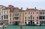 image of winter palace  - Canal Grande view with gondolas and beautiful palaces in cold winter day - JPG