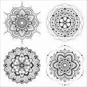 stock photo of lace  - Set of four floral mandala for design or mehndi - JPG