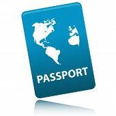 stock photo of passport cover  - Vector Passport with map isolated on white background - JPG