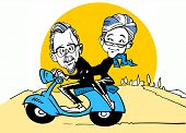 stock photo of scooter  - funny senior couple driving a scooter - JPG