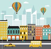image of suburban city  - Illustration of colorful City street with Hot air balloons - JPG