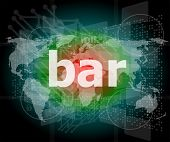 Bar, Hi-tech Background, Digital Business Touch Screen