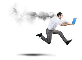 image of combustion  - Running businessman has problems and errors with computer - JPG