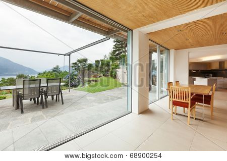 mountain house, modern architecture, interior, dining room, veranda view