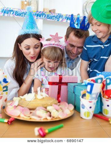 Cheerful Little Girl Celebrating Her Birthday