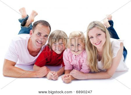 Joyful Family Lying On The Floor
