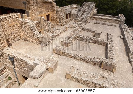 Archaeological Site Of Knossos Palace On The Crete Island, Greece