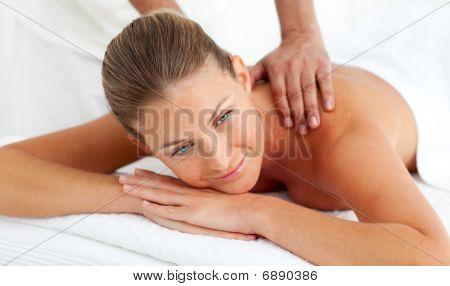 Blond Woman Having A Massage