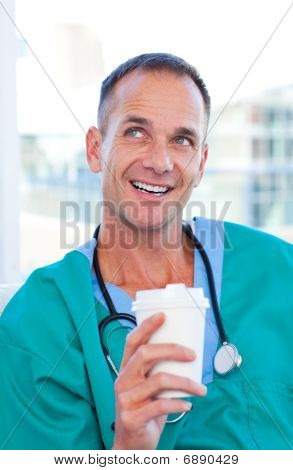 Mature Doctor Having A Break