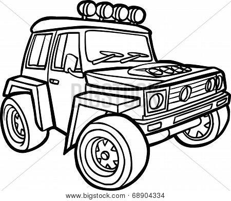 Cartoon off-road vehicle. Border