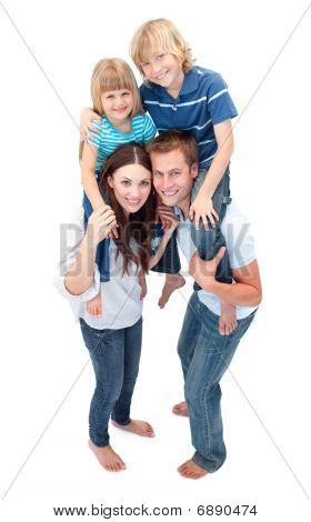 Close-up Of Family Enjoying Piggyback Ride