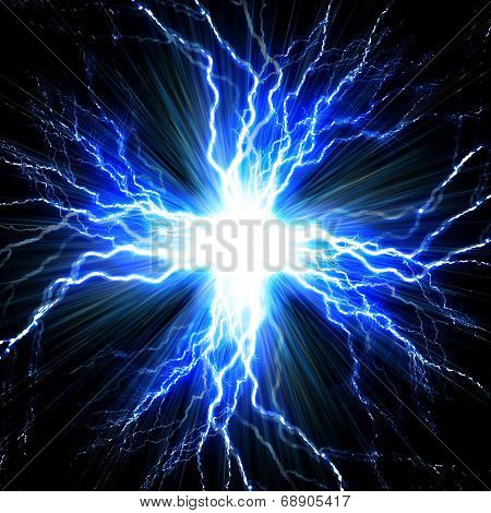Digital Backgroundelectric Flash Of Lightning On A Blue Background
