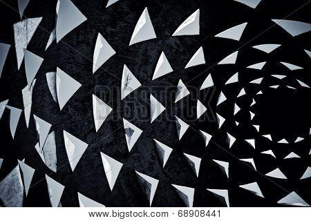 dark black and white triangle background