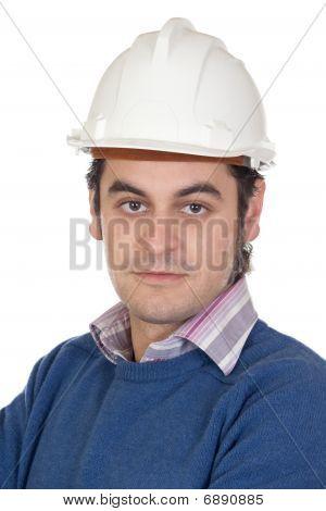 Ingeniero con casco blanco