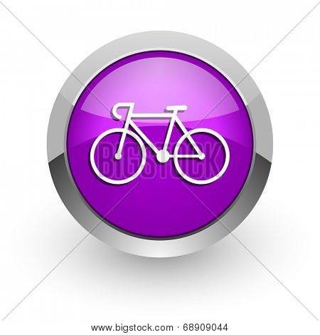 bicycle pink glossy web icon