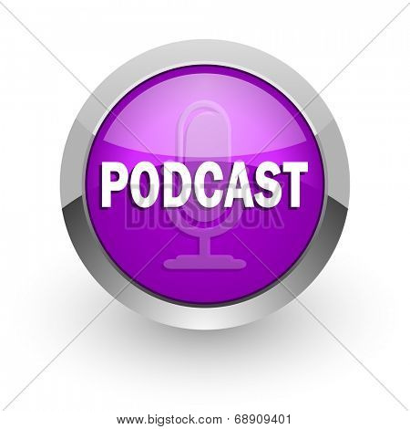 podcast pink glossy web icon