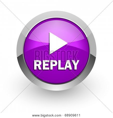 replay pink glossy web icon