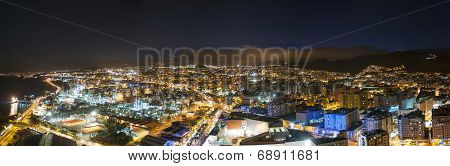 Aerial view of night city. Santa Cruz de Tenerife