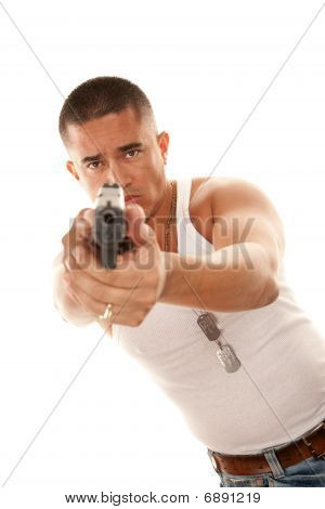 Hispanic Man With Gun