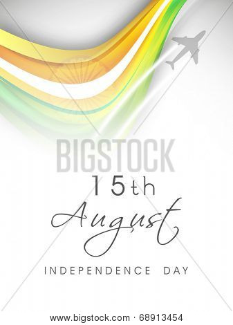 15th of August, Independence Day celebrations concept with fighter planes and national tricolors waves on grey background.