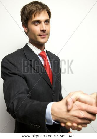 Attractive Young Businessman Shaking Hands Off Camera