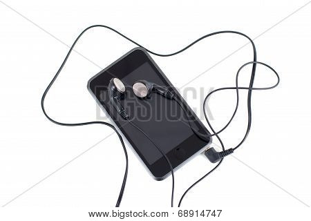 Audio Player With Headphones Isolated On White Background