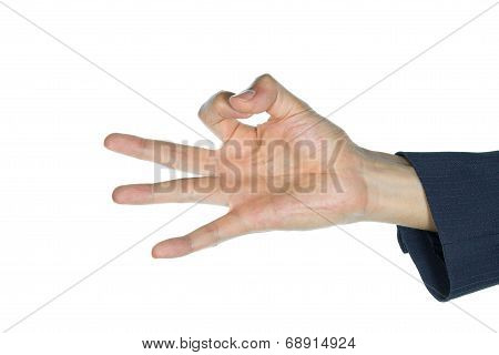 Businessman Ok Finger Or Ok Hand Isolated On White